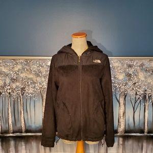Black fleece zip up hooded jacket